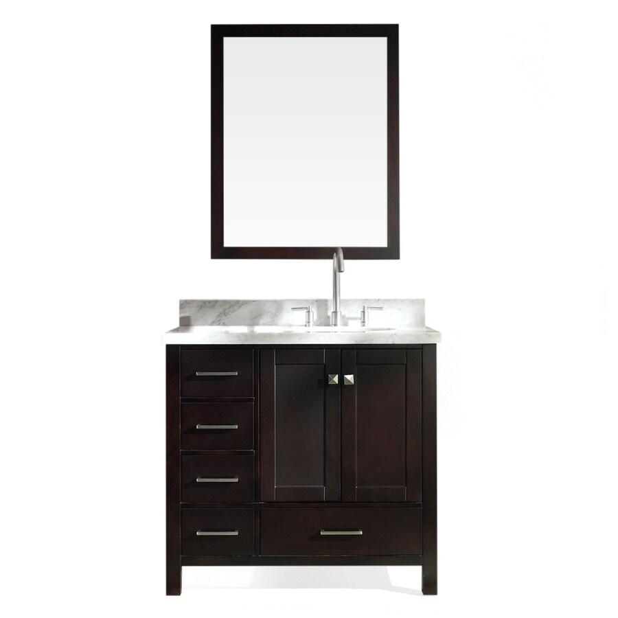 ARIEL Cambridge Espresso Undermount Single Sink Asian Hardwood Bathroom Vanity with Natural Marble Top (Mirror Included) (Common: 37-in x 22-in; Actual: 37-in x 22-in)