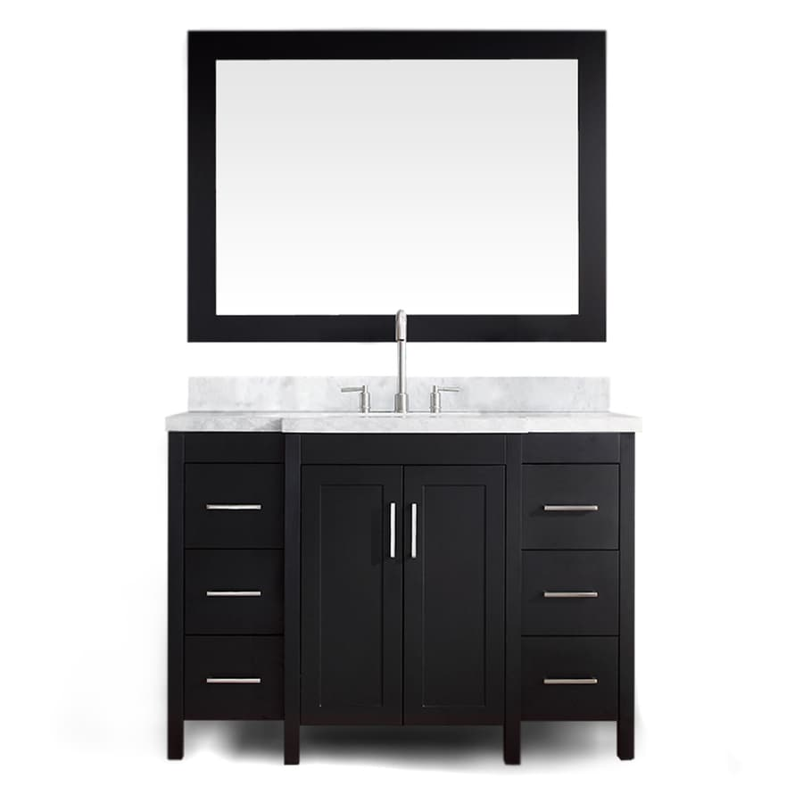 ARIEL Hollandale Black Undermount Single Sink Asian Hardwood Bathroom Vanity with Natural Marble Top (Mirror Included) (Common: 49-in x 22-in; Actual: 49-in x 22-in)