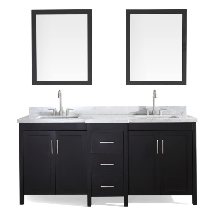 ARIEL Hollandale Black Undermount Double Sink Asian Hardwood Bathroom Vanity with Natural Marble Top (Mirror Included) (Common: 73-in x 22-in; Actual: 73-in x 22-in)