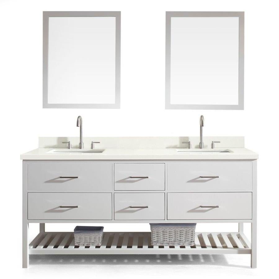 ARIEL Shakespeare White Undermount Double Sink Asian Hardwood Bathroom Vanity with Quartz Top (Mirror Included) (Common: 73-in x 22-in; Actual: 73-in x 22-in)