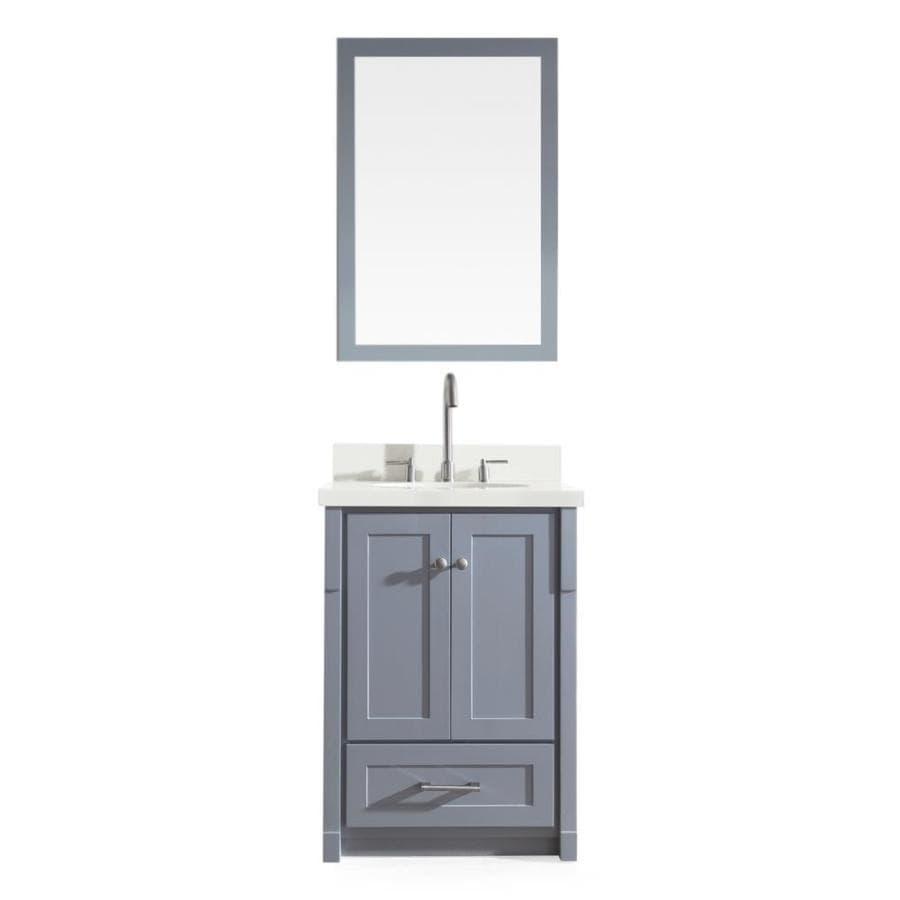 ARIEL Adams Grey Undermount Single Sink Asian Hardwood Bathroom Vanity with Quartz Top (Mirror Included) (Common: 25-in x 22-in; Actual: 25-in x 22-in)