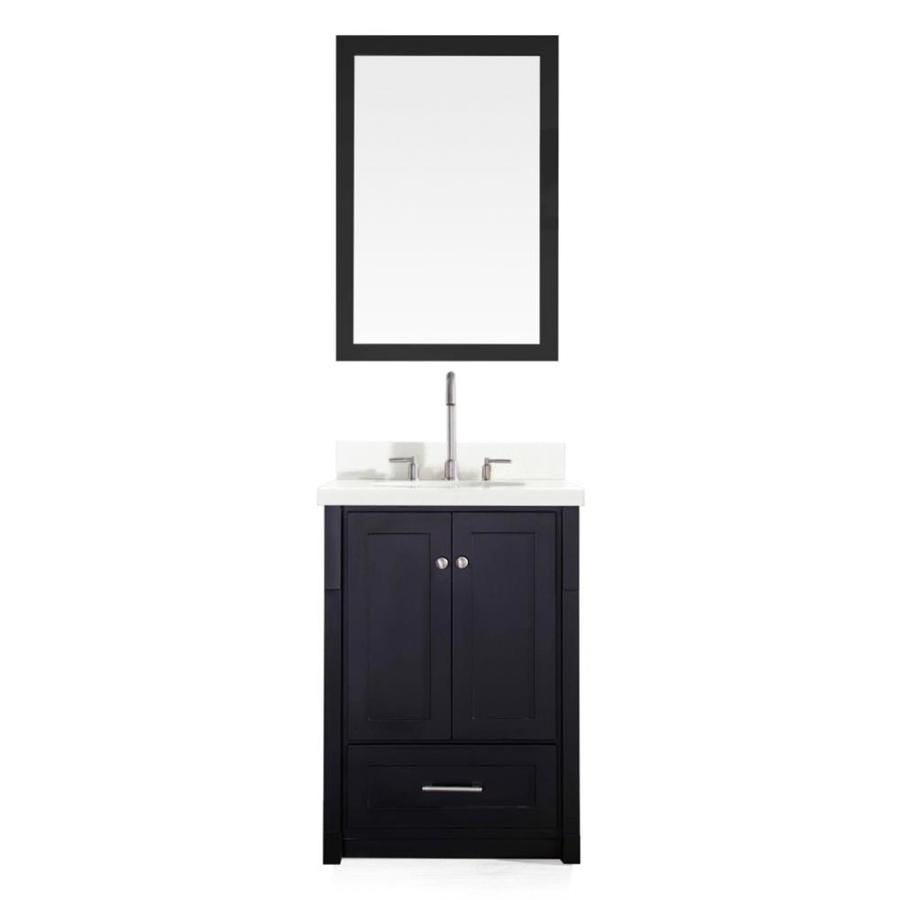 ARIEL Adams Black Undermount Single Sink Asian Hardwood Bathroom Vanity with Quartz Top (Mirror Included) (Common: 25-in x 22-in; Actual: 25-in x 22-in)