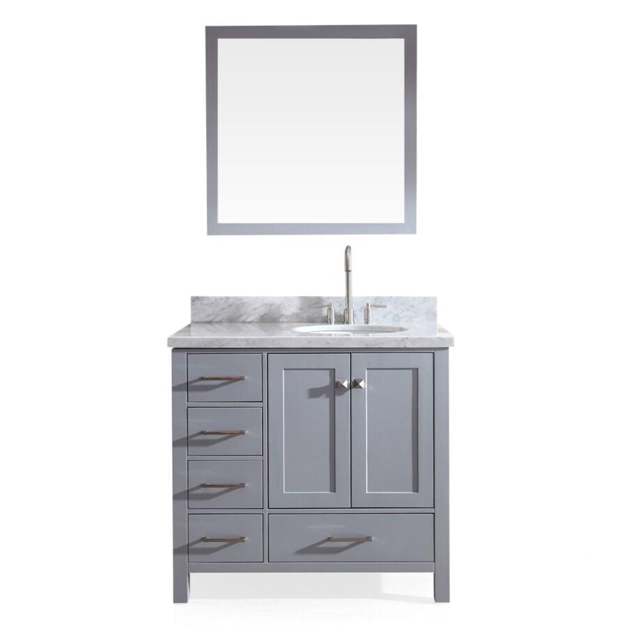 ARIEL Cambridge Grey Undermount Single Sink Asian Hardwood Bathroom Vanity with Natural Marble Top (Mirror Included) (Common: 37-in x 22-in; Actual: 37-in x 22-in)
