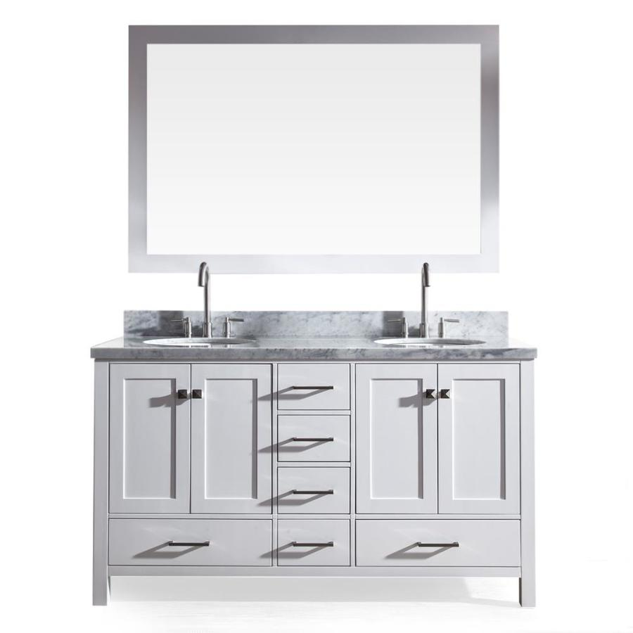 ARIEL Cambridge White Undermount Double Sink Asian Hardwood Bathroom Vanity with Natural Marble Top (Mirror Included) (Common: 61-in x 22-in; Actual: 61-in x 22-in)