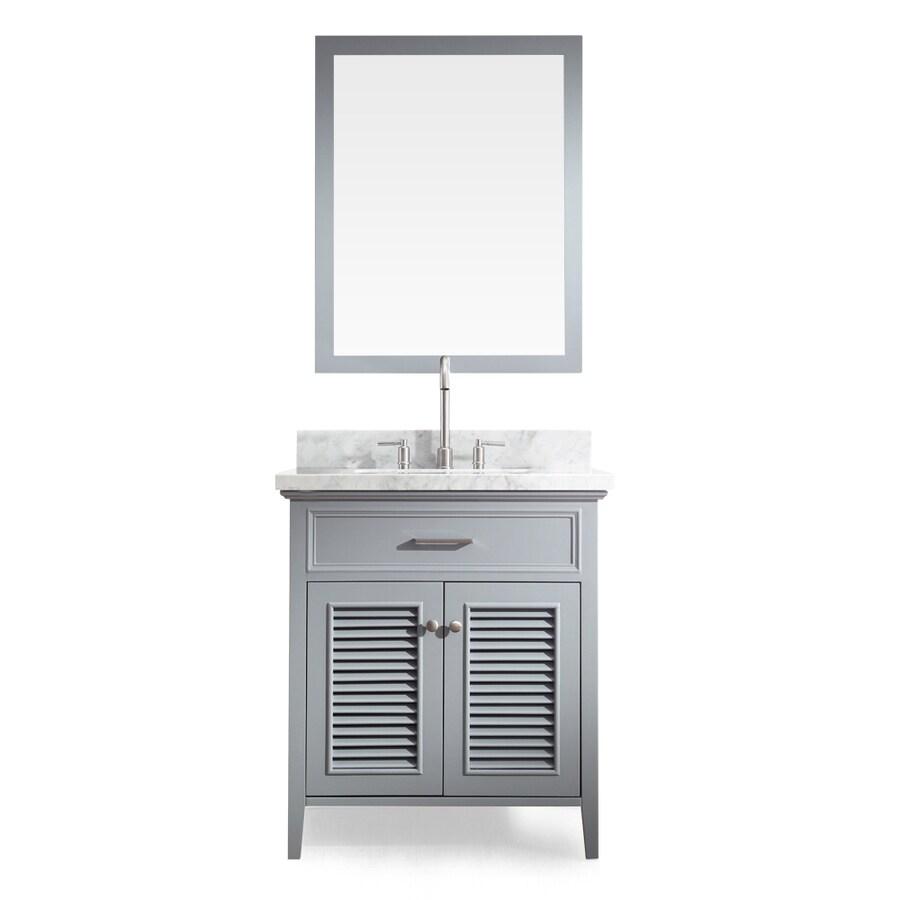 ARIEL Kensington Grey Undermount Single Sink Asian Hardwood Bathroom Vanity with Natural Marble Top (Mirror Included) (Common: 31-in x 22-in; Actual: 31-in x 22-in)