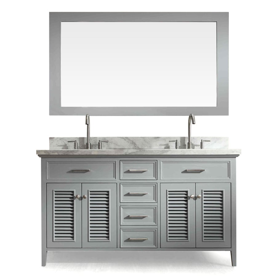 ARIEL Kensington Grey Undermount Double Sink Asian Hardwood Bathroom Vanity with Natural Marble Top (Mirror Included) (Common: 61-in x 22-in; Actual: 61-in x 22-in)