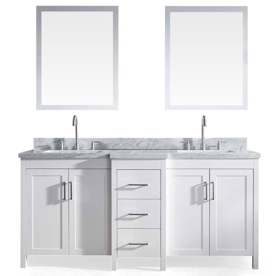 ARIEL Hollandale White Undermount Double Sink Asian Hardwood Bathroom Vanity with Natural Marble Top (Mirror Included) (Common: 73-in x 22-in; Actual: 73-in x 22-in)