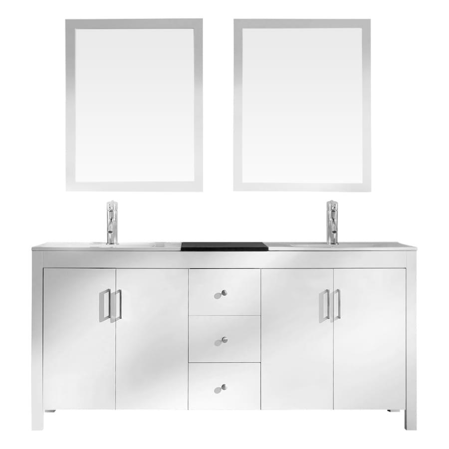 ARIEL Hanson White Drop-in Double Sink Asian Hardwood Bathroom Vanity with Ceramic Top (Mirror Included) (Common: 72-in x 19-in; Actual: 72-in x 19-in)