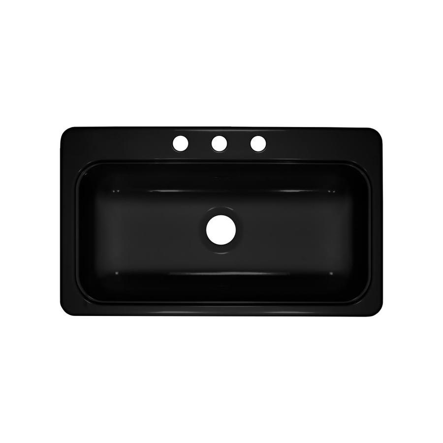 Lyons Style SB 19-in x 33-in Black Single-Basin Acrylic Drop-In or Undermount 3-Hole Commercial Kitchen Sink