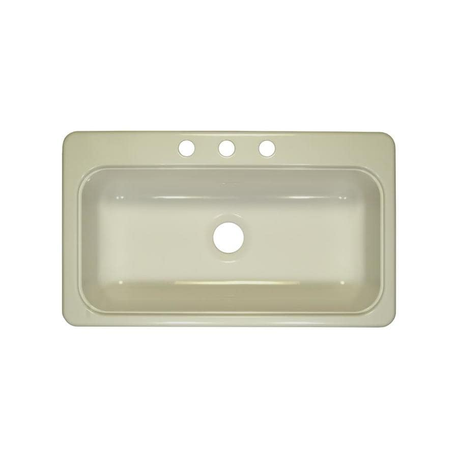 Lyons Style SB 19-in x 33-in Biscuit Single-Basin Acrylic Drop-In or Undermount 3-Hole Commercial Kitchen Sink