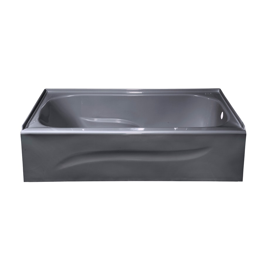 Style Selections Silver Metallic Acrylic Rectangular Skirted Bathtub with Right-Hand Drain (Common: 30-in x 60-in; Actual: 16-in x 30-in x 59.875-in)