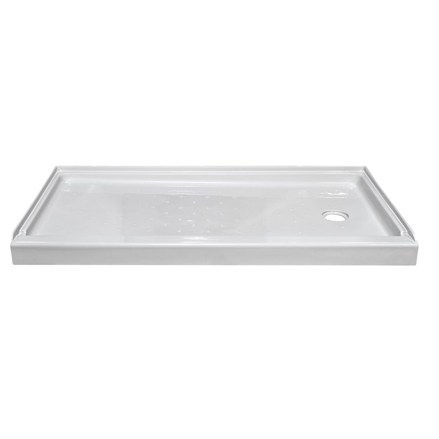 Style Selections White Acrylic Shower Base (Common: 32-in W x 60-in L; Actual: 32-in W x 59.875-in L)