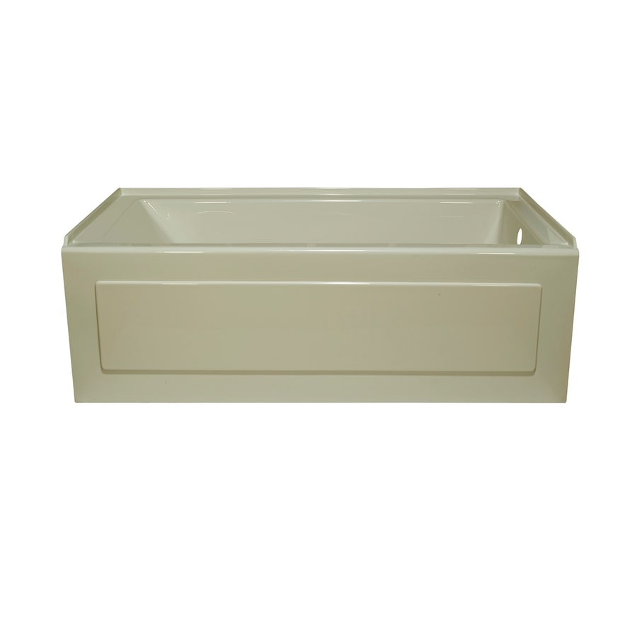 Style Selections Biscuit Acrylic Rectangular Alcove Bathtub with Right-Hand Drain (Common: 32-in x 60-in; Actual: 19-in x 32-in x 59.875-in)