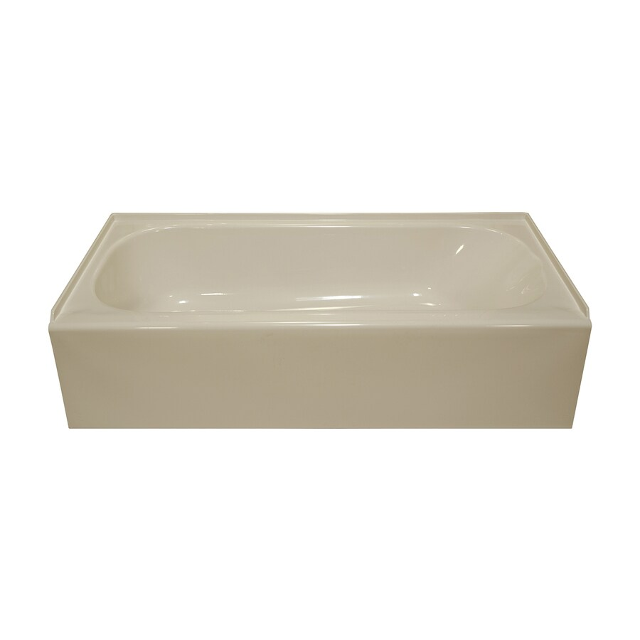 Style Selections Almond Acrylic Oval in Rectangle Skirted Bathtub with Left-Hand Drain (Common: 27-in x 54-in; Actual: 16-in x 27-in x 53.875-in)