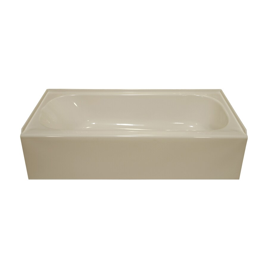 Style Selections Almond Acrylic Oval in Rectangle Skirted Bathtub with Right-Hand Drain (Common: 27-in x 54-in; Actual: 16-in x 27-in x 53.875-in)