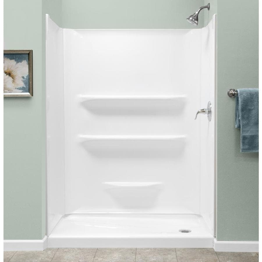 White Acrylic Shower Base (Common: 27-in W x 54-in L; Actual: 27-in W x 53.875-in L) Product Photo