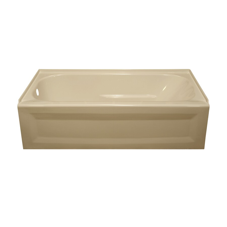Style Selections Almond Acrylic Oval in Rectangle Skirted Bathtub with Left-Hand Drain (Common: 30-in x 54-in; Actual: 19-in x 30-in x 53.875-in)