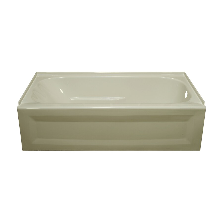 Style Selections Biscuit Acrylic Oval in Rectangle Skirted Bathtub with Right-Hand Drain (Common: 30-in x 54-in; Actual: 19-in x 30-in x 53.875-in)