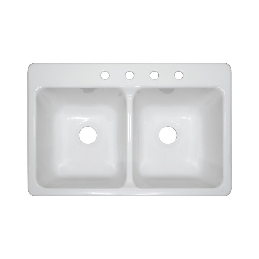 Lyons Bravo 33-in x 22-in White Double-Basin Acrylic Drop-In 4-Hole Residential Kitchen Sink