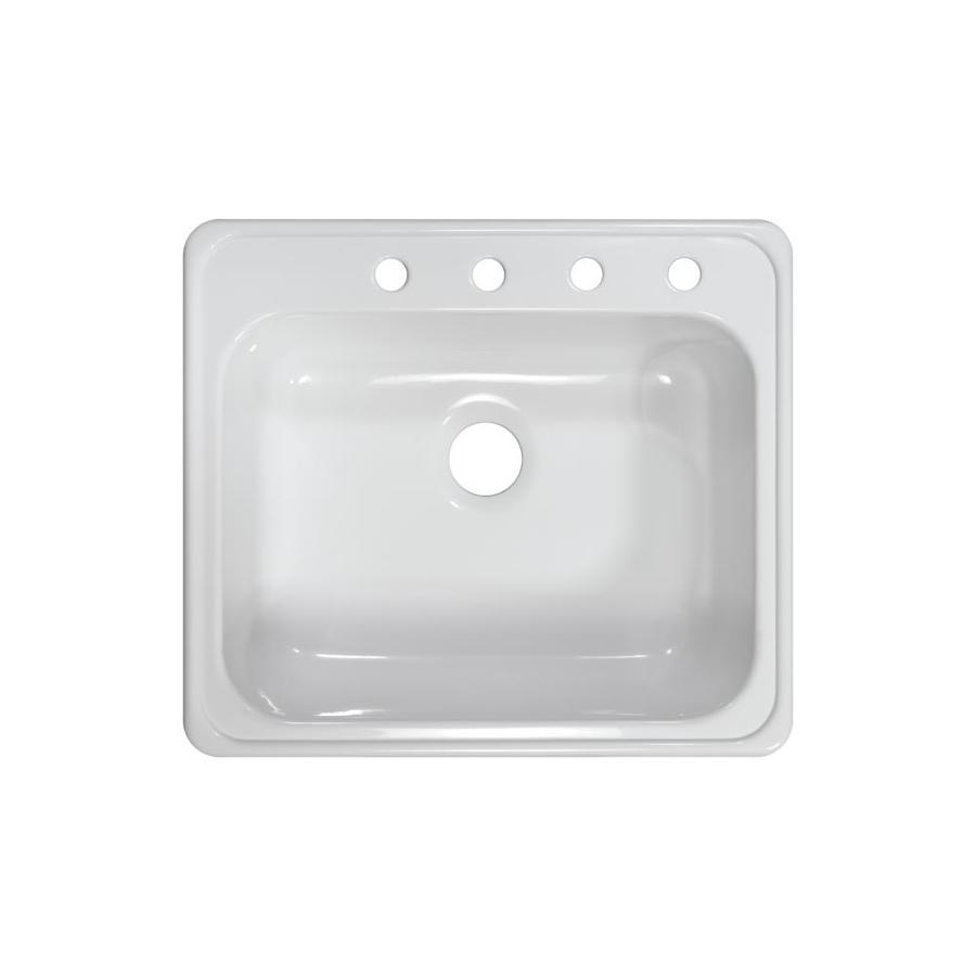 Lyons Harbor 25-in x 22-in White Single-Basin Acrylic Drop-In 4-Hole Commercial Kitchen Sink