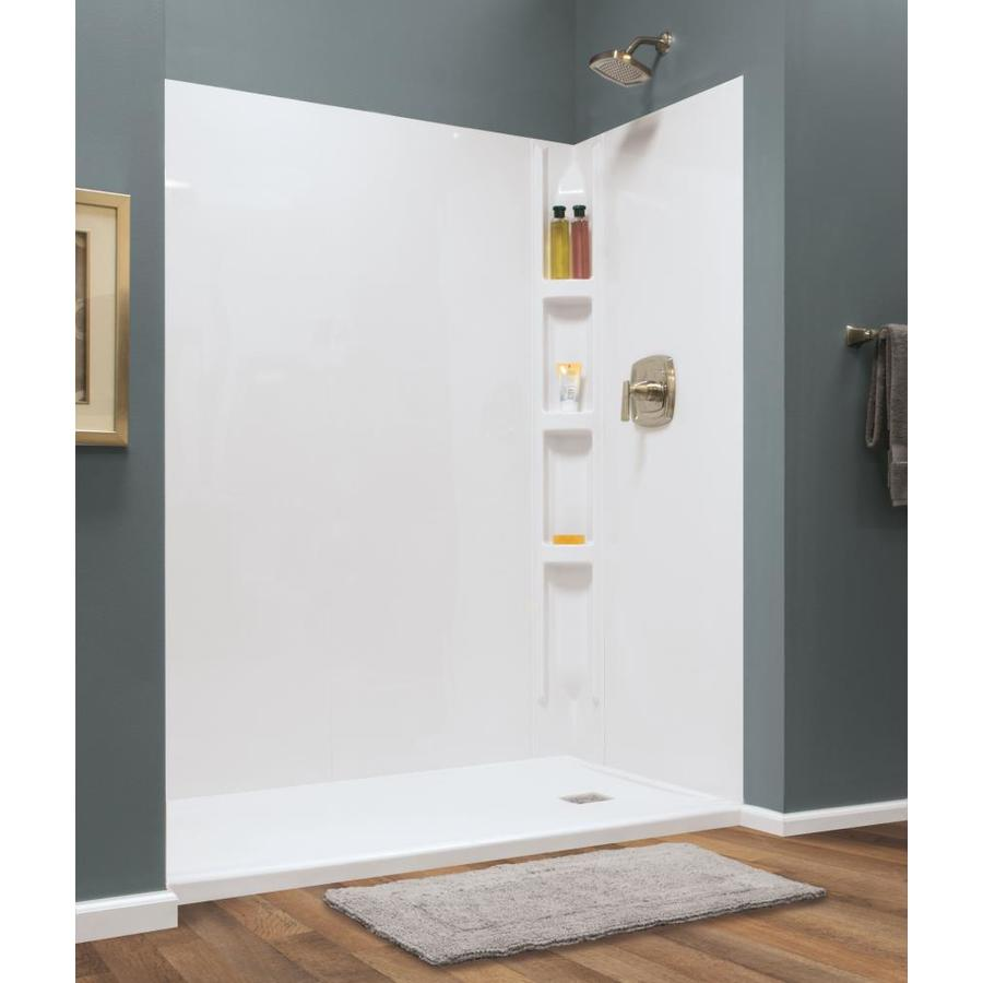 Style Selections Hampton Glue Up Wall 60 In X 72 In White Shower Surround Back Wall Panel In The Shower Wall Panels Department At Lowes Com
