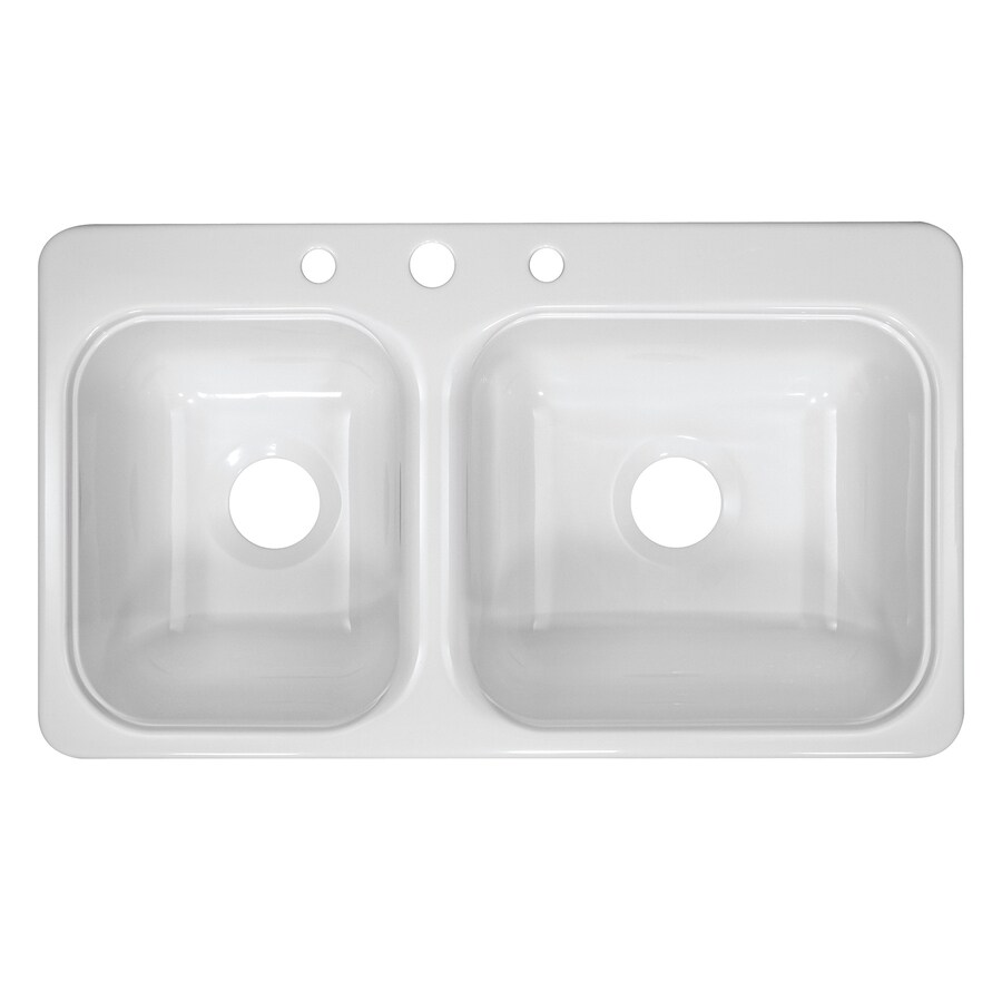 Lyons Style C 19-in x 33-in White Double-Basin Acrylic Drop-In 3-Hole Commercial Kitchen Sink