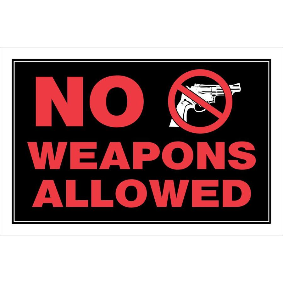 Hillman Sign Center 8-in x 12-in Weapons Sign