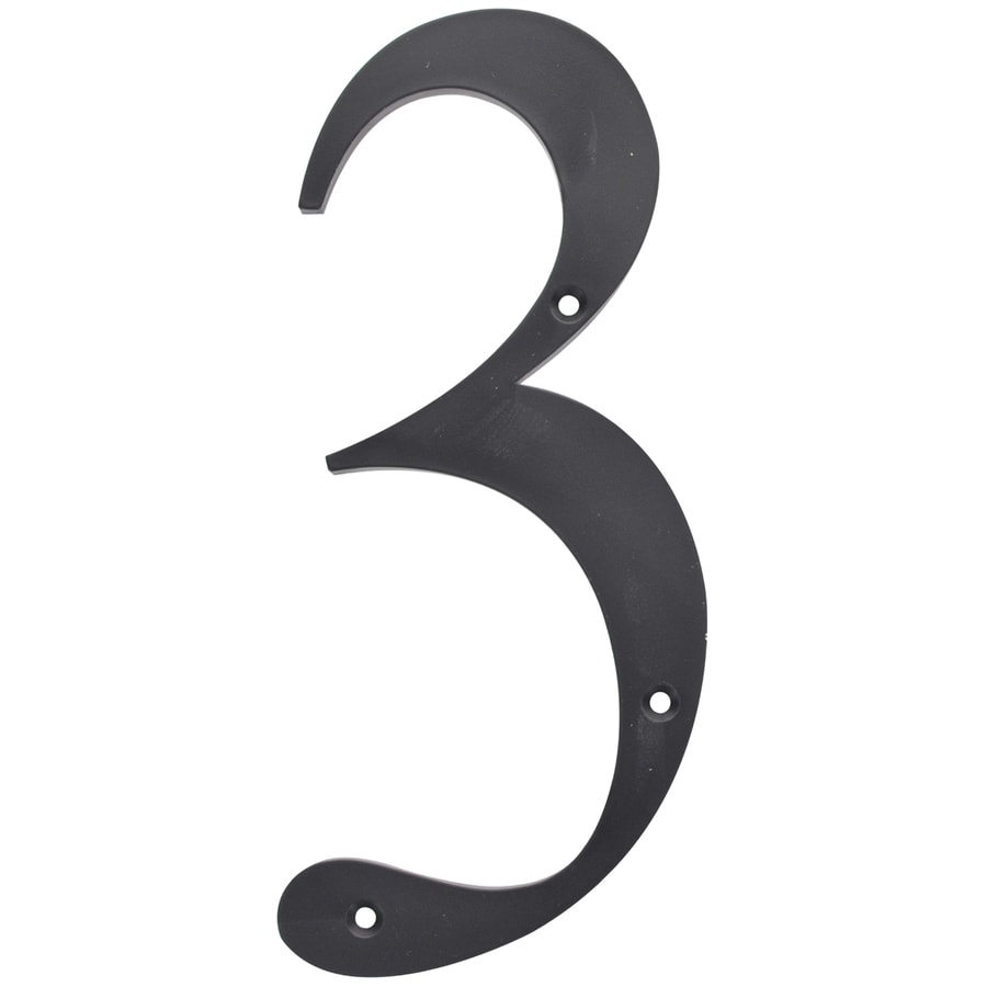 The Hillman Group 6-in Matte Black House Number #3