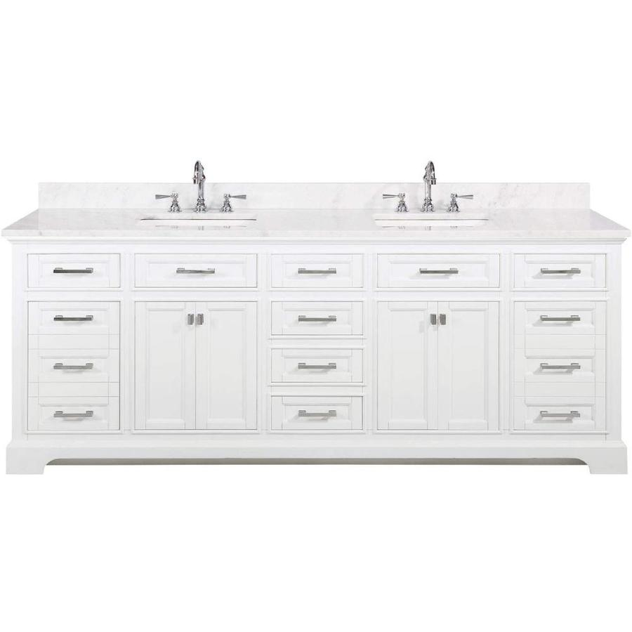 Design Element Milano 84 In White Undermount Double Sink Bathroom Vanity With White Quartz Top In The Bathroom Vanities With Tops Department At Lowes Com