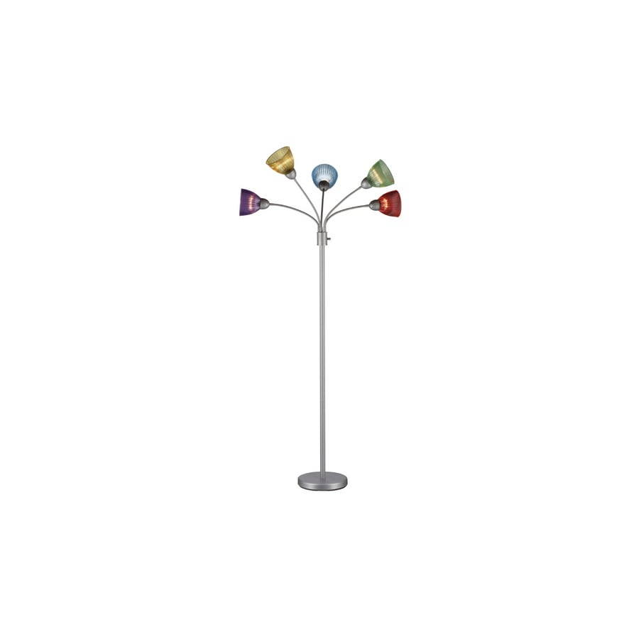 Style Selections 68-in 3-Way Switch Silver Indoor Floor Lamp with Plastic Shade