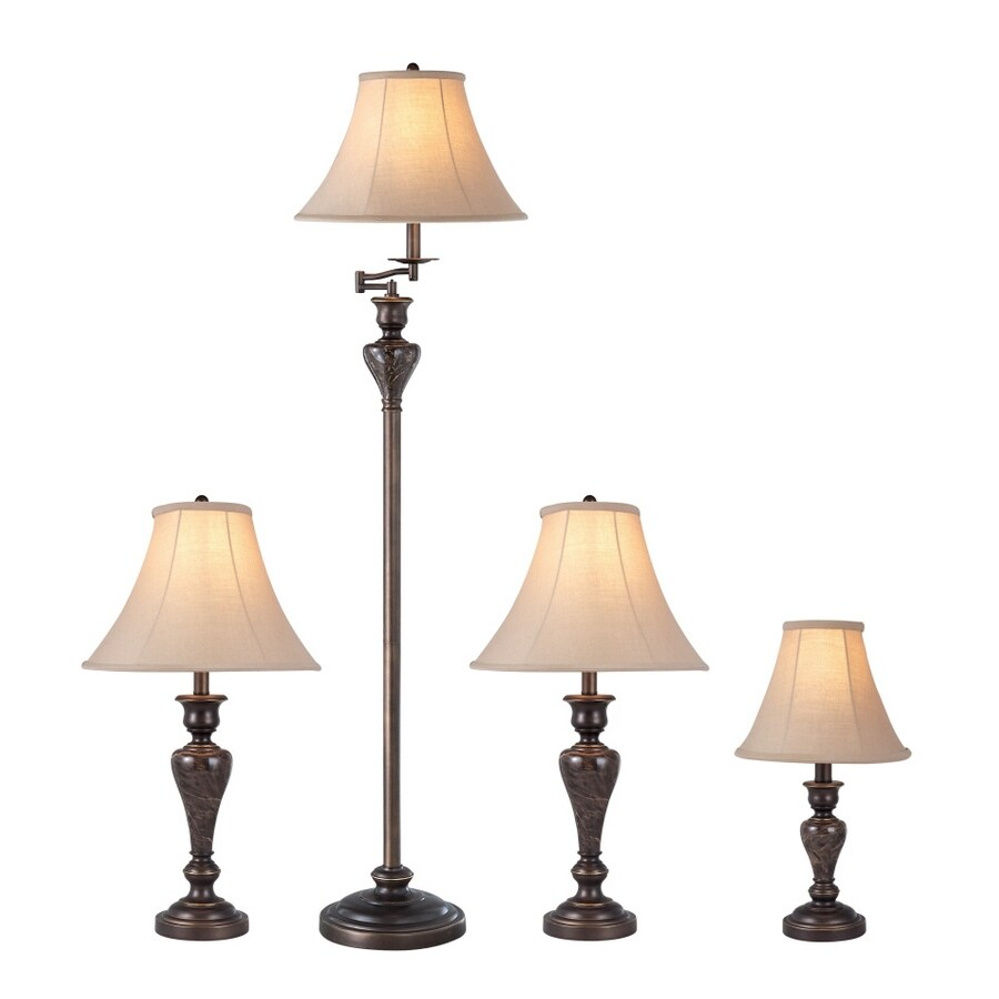 Portfolio Springsley 4-Piece Aged Bronze Lamp Set with Fabric Shades