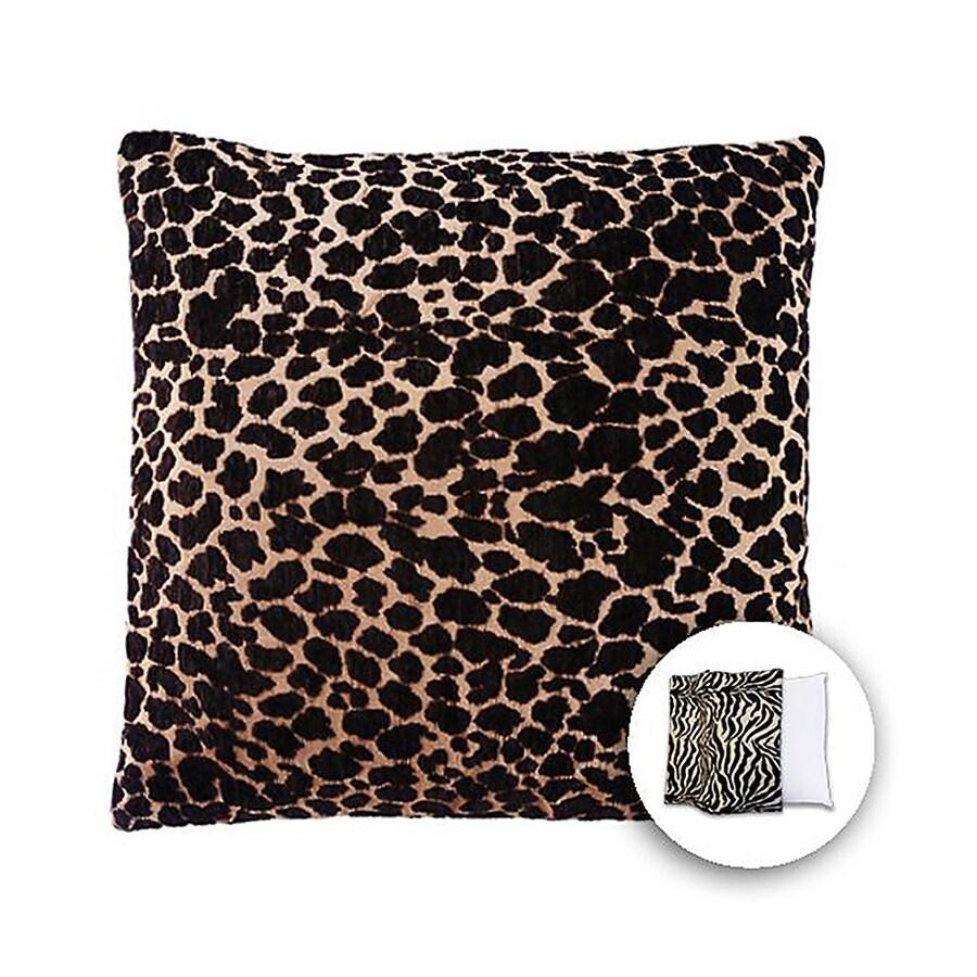 allen + roth 18-in W x 18-in L Brown Giraffe Square Indoor Decorative Pillow Cover
