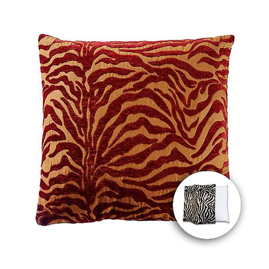 allen + roth 18-in W x 18-in L Zebra Red Square Indoor Decorative Pillow Cover