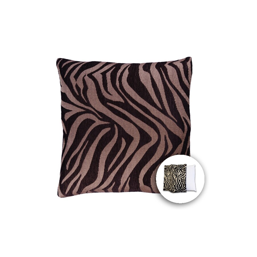 allen + roth 18-in W x 18-in L Zebra Brown Square Indoor Decorative Pillow Cover