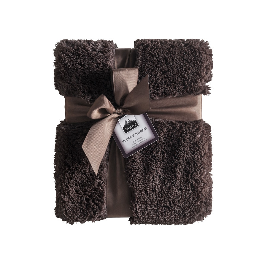 214 west Brown 50-in L x 60-in W Polyester Throw