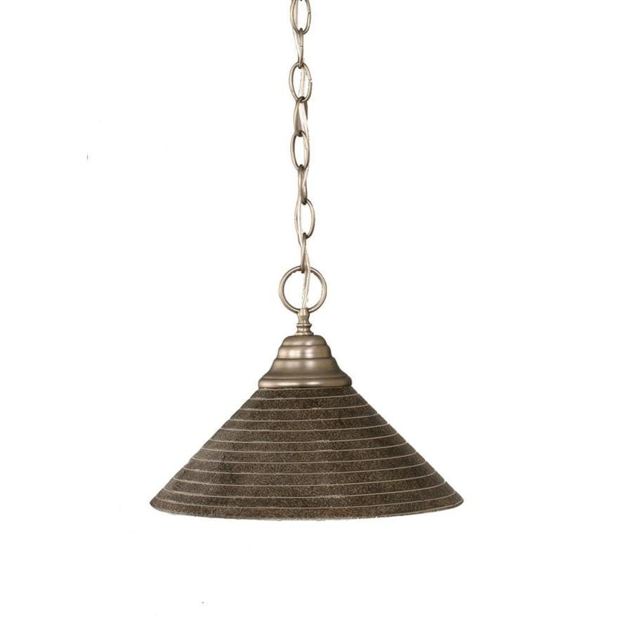 Divina 12-in Brushed Nickel Mini Marbleized Glass Pendant