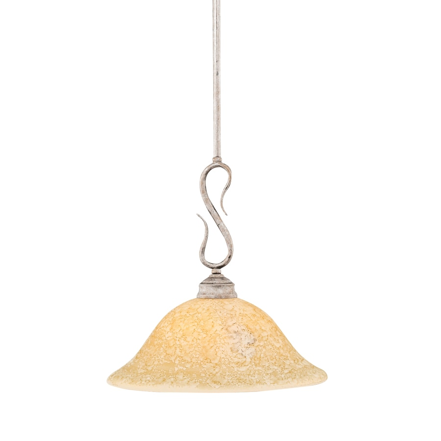 Brooster 12-in Bronze Single Marbleized Glass Pendant