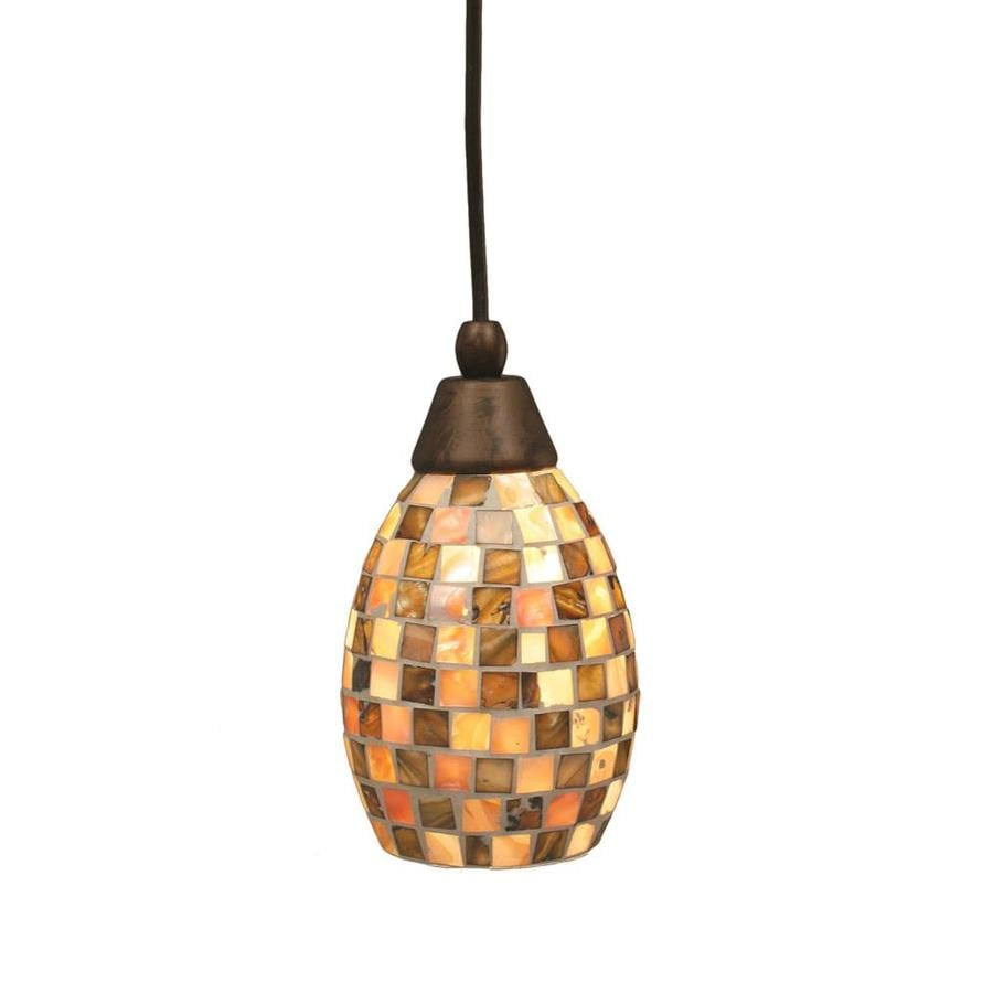 Divina 5-in Bronze Mini Marbleized Glass Pendant
