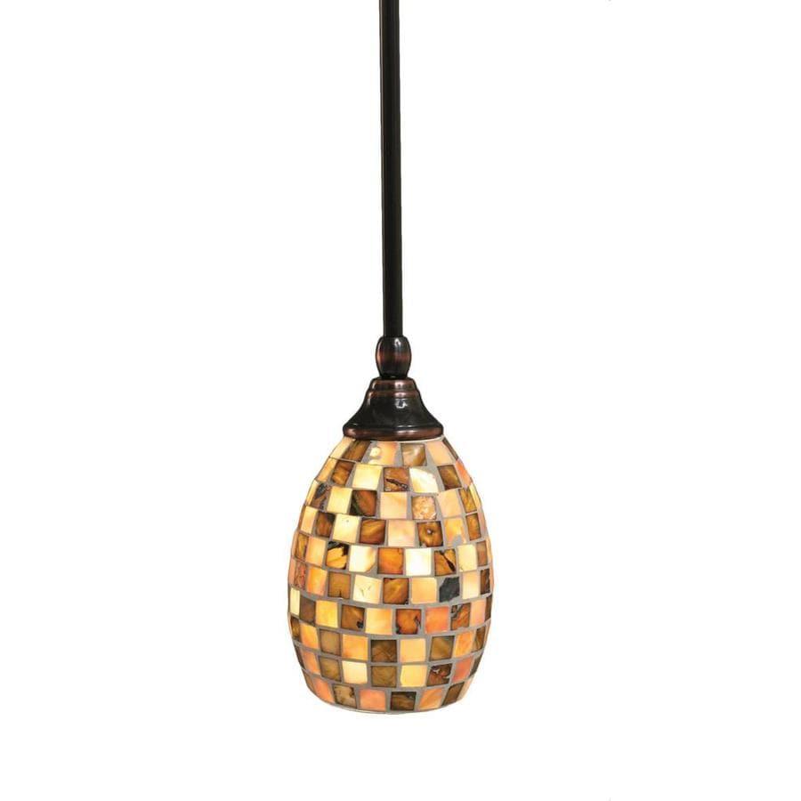 Divina 5-in Black Copper Mini Marbleized Glass Pendant