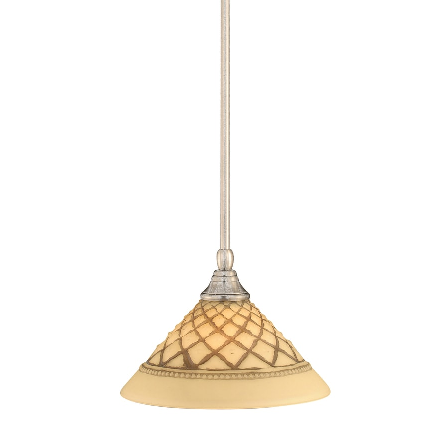 Brooster 10-in Brushed Nickel Mini Textured Glass Pendant