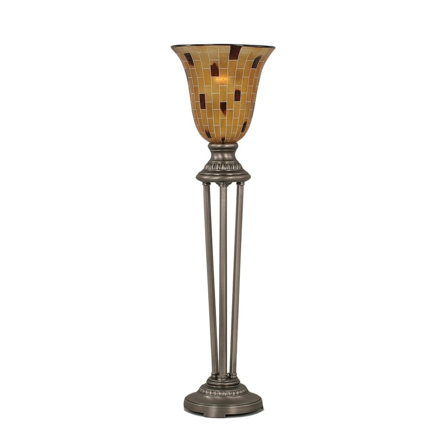 Divina 34.5-in 3-Way Nickel Indoor Table Lamp with Glass Shade