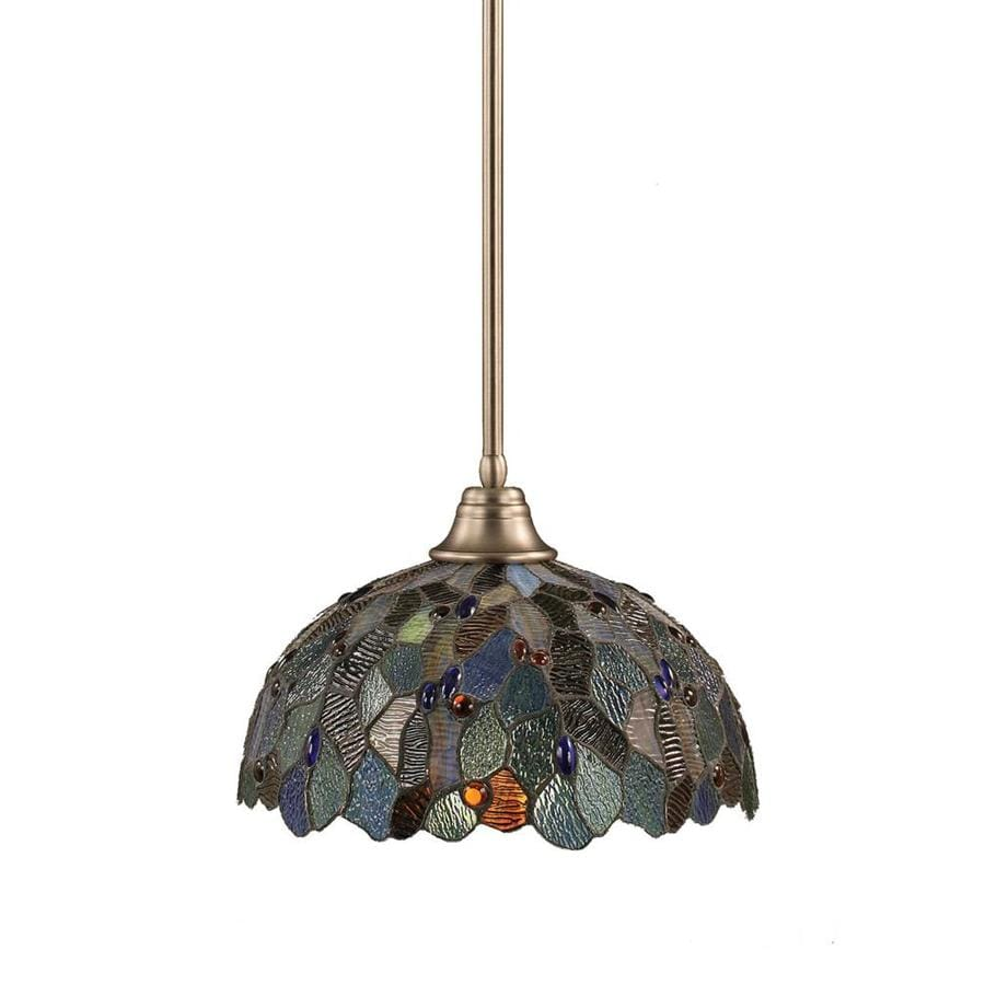 Divina 16-in Brushed Nickel Single Stained Glass Pendant