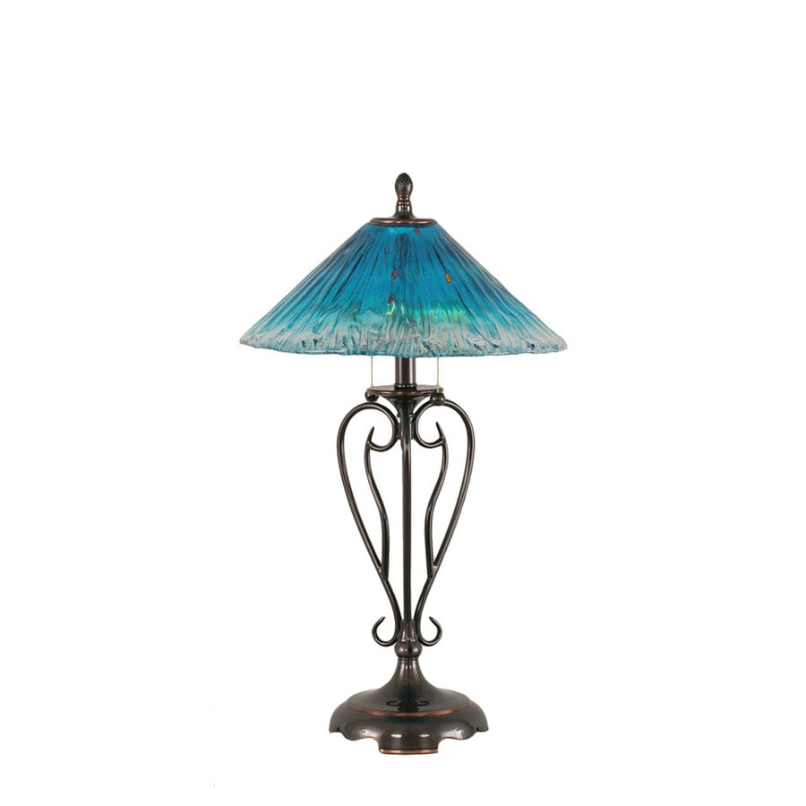 Divina 27-in 3-Way Black Indoor Table Lamp with Crystal Shade