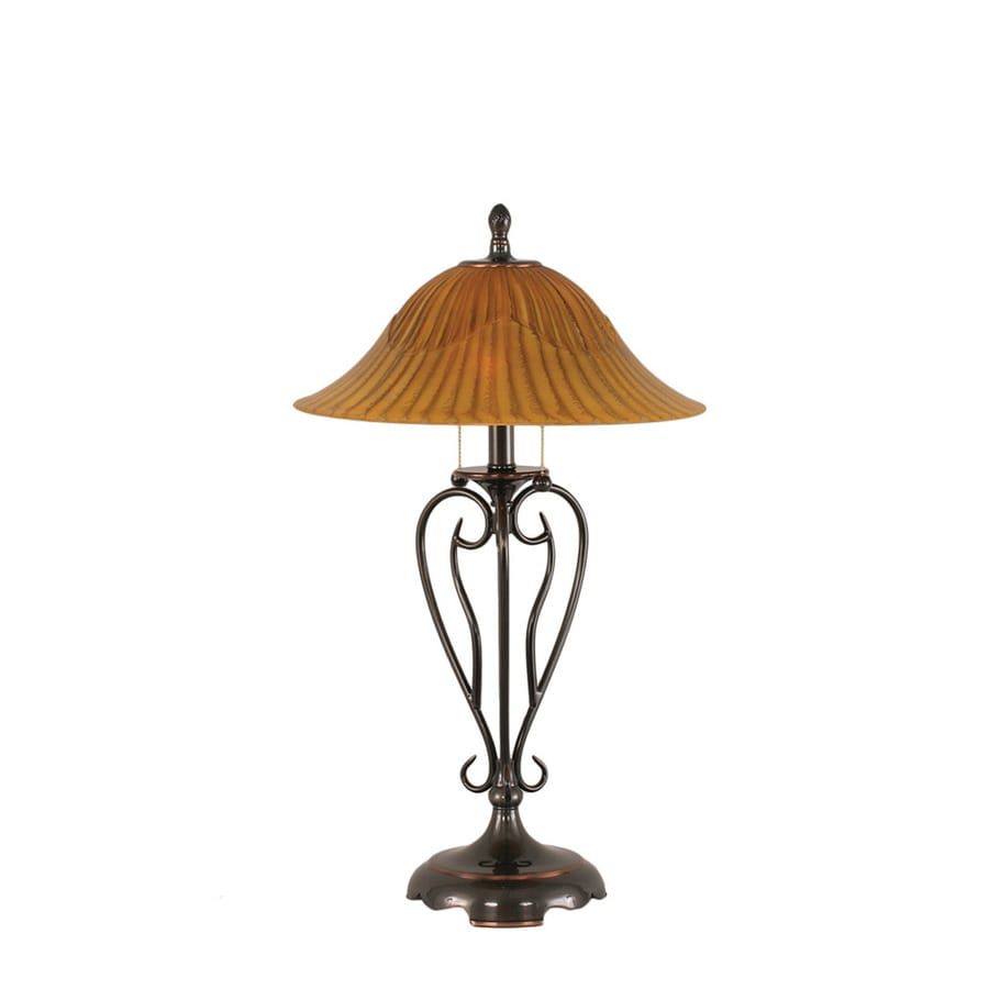 Divina 27-in 3-Way Black Indoor Table Lamp with Glass Shade