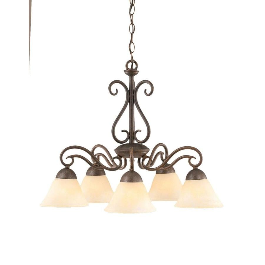 Divina 24.5-in 5-Light Bronze Marbleized Glass Candle Chandelier