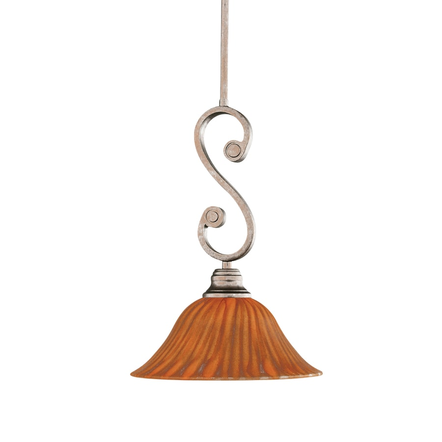 Brooster 10-in Bronze Mini Tinted Glass Pendant