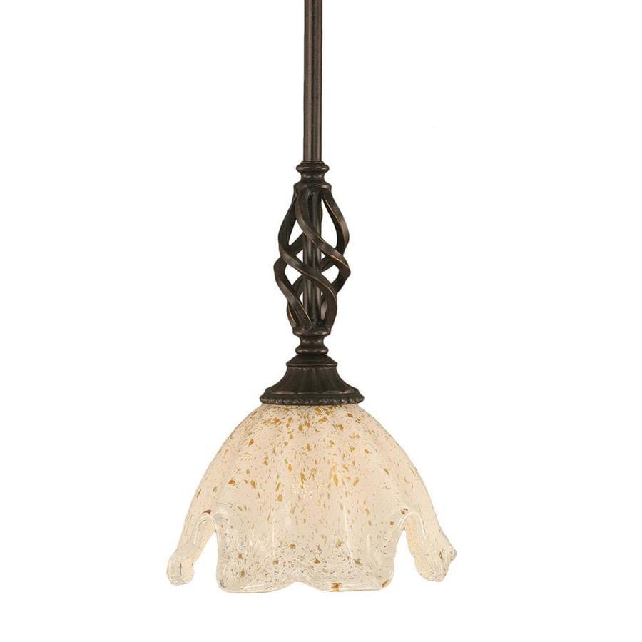 Divina 7-in Dark Granite Mini Marbleized Glass Pendant