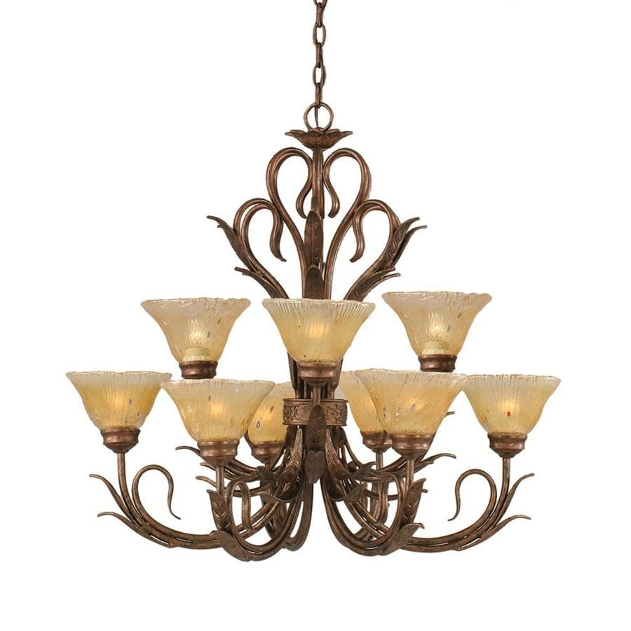 Divina 30.5-in 9-Light Bronze Tinted Glass Tiered Chandelier