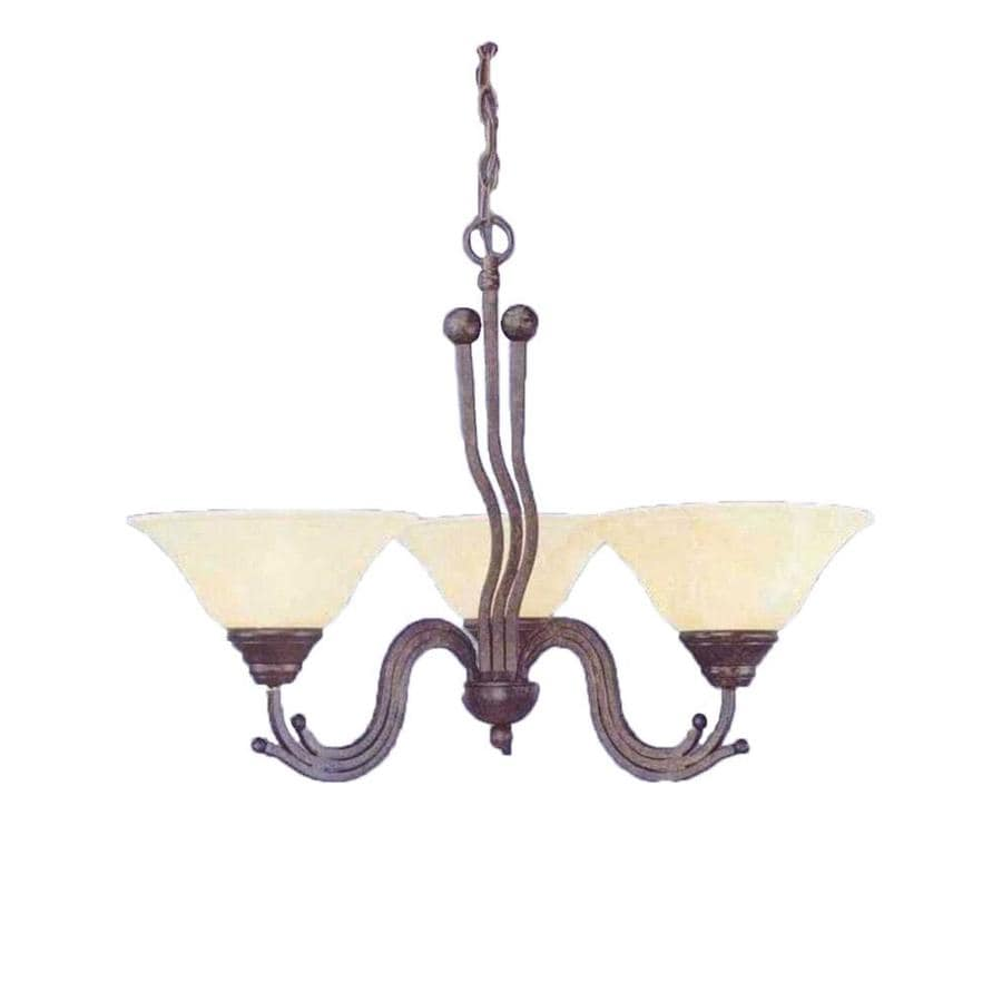Divina 28.5-in 3-Light Bronze Marbleized Glass Candle Chandelier