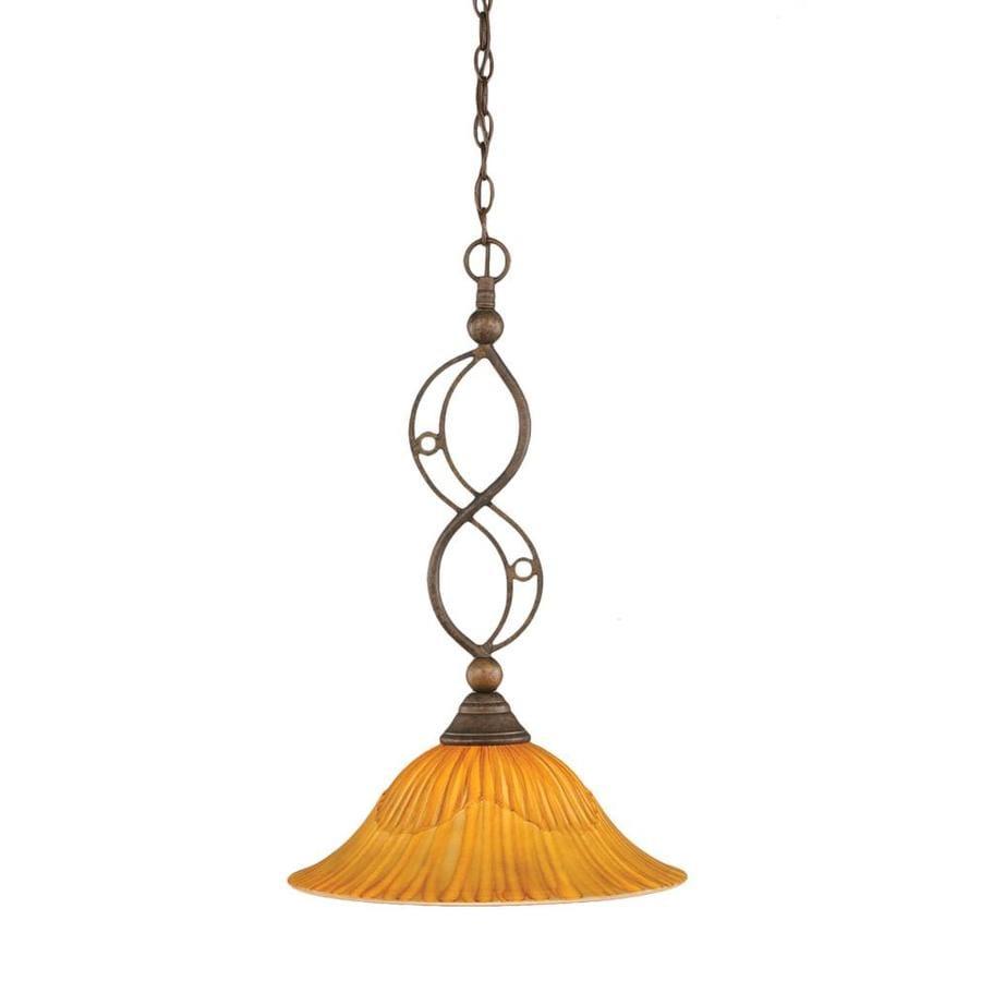 Divina 20-in Bronze Single Marbleized Glass Pendant